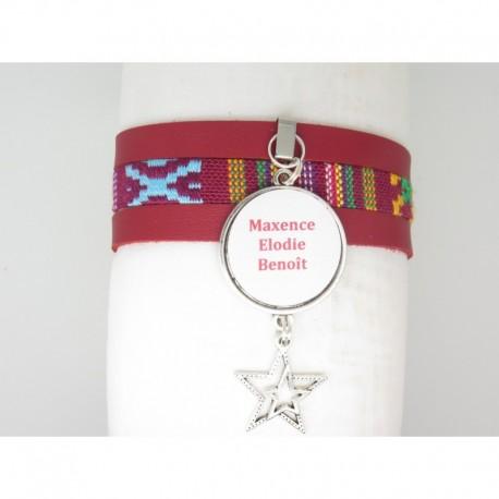bracelet manchette personnalisable pr nom ou autre message avec tissage ethnique et suedine. Black Bedroom Furniture Sets. Home Design Ideas