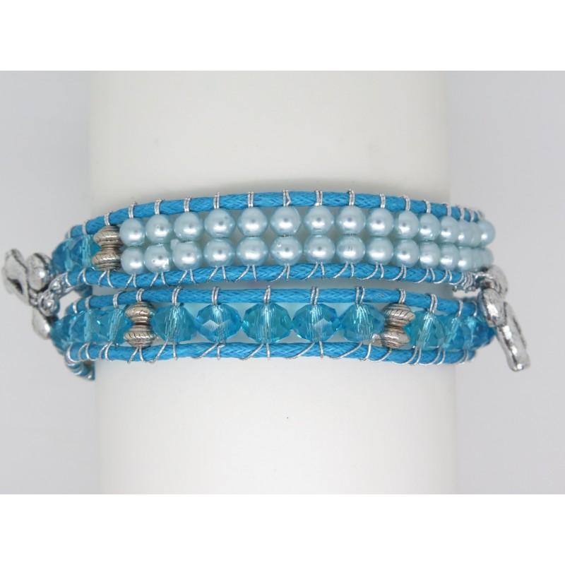 bracelet wrap femme deux tours bleu et turquoise breloque n 39 ud couleur argent. Black Bedroom Furniture Sets. Home Design Ideas