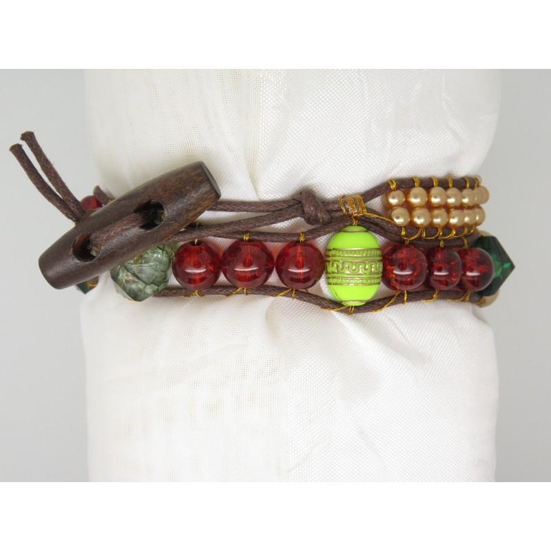 bracelet manchette wrap femme perles ton de vert et ton de cuivre marron. Black Bedroom Furniture Sets. Home Design Ideas