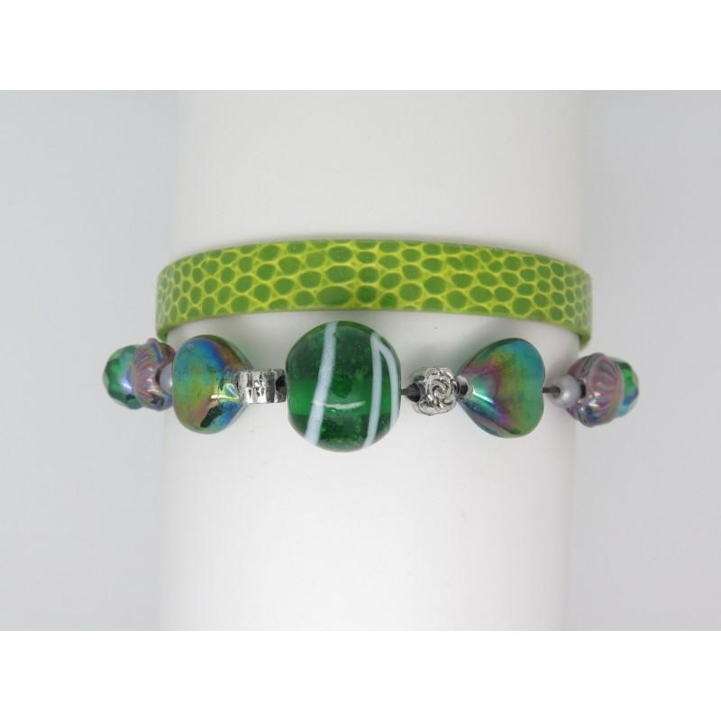 Perle Vert Cuir Et Metal Verte Bracelet XZPkui