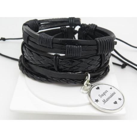 BRACELET MODULABLE  MANCHETTE PERSONNALISABLE EN CUIR  SUPER MARRAINE f de bm creations