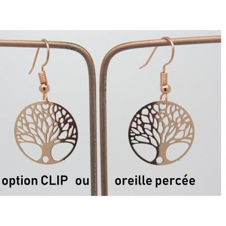 PAIRE DE BOUCLES D'OREILLE ARBRE DE VIE PERSONNALISABLE CLIP OU OREILLE PERCÉE dorée F de Bm créations