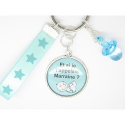 PORTE CLE PERSONNALISABLE CADEAU POUR UNE FUTURE MARRAINE: veux-tu être ma marraine, pour un baptême, naissance...