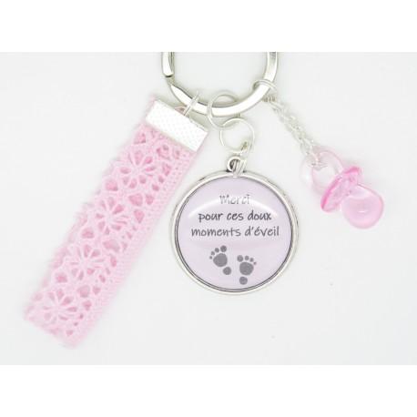 porte clé ou bijou de sac PERSONNALISABLE ton bleu cadeau pour une nounou, une maman, une maîtresse cadeau crèche