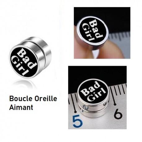 BOUCLE D'OREILLE AIMANT TITANE FEMME BAD GIRL F de Bm créations
