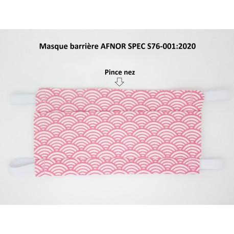 Masque barrière AFNOR SPEC S76-001:2020 Modèle vagues roses F de Bm créations
