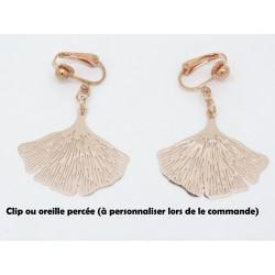 PAIRE DE BOUCLES D'OREILLE PERSONNALISABLE CLIP OU OREILLE PERCÉE GINKGO ARGENT F de Bm créations