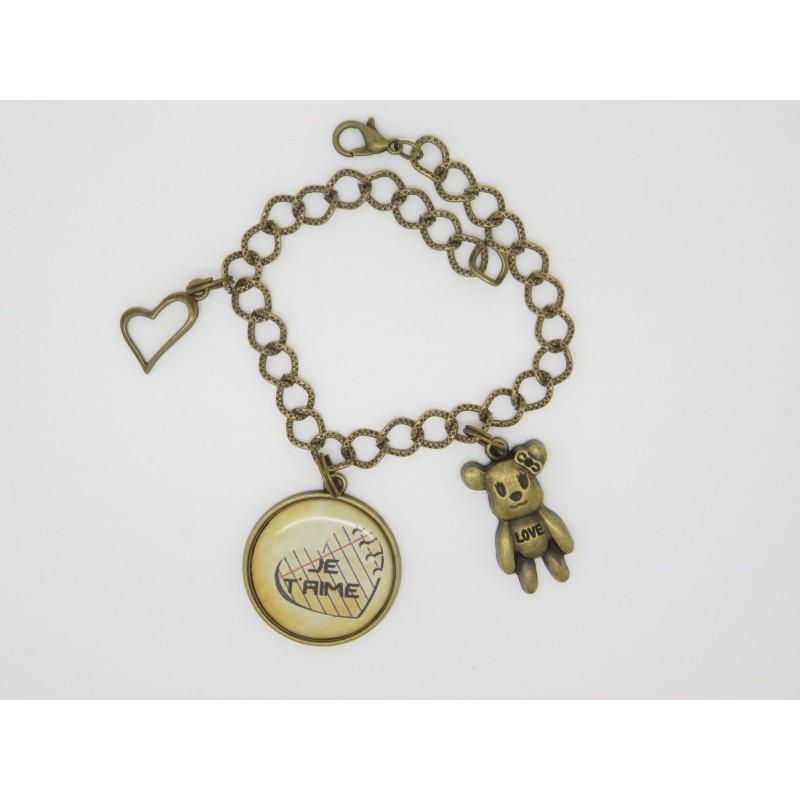 bracelet personnalisable avec charms avec cabochon pour la saint valentin. Black Bedroom Furniture Sets. Home Design Ideas