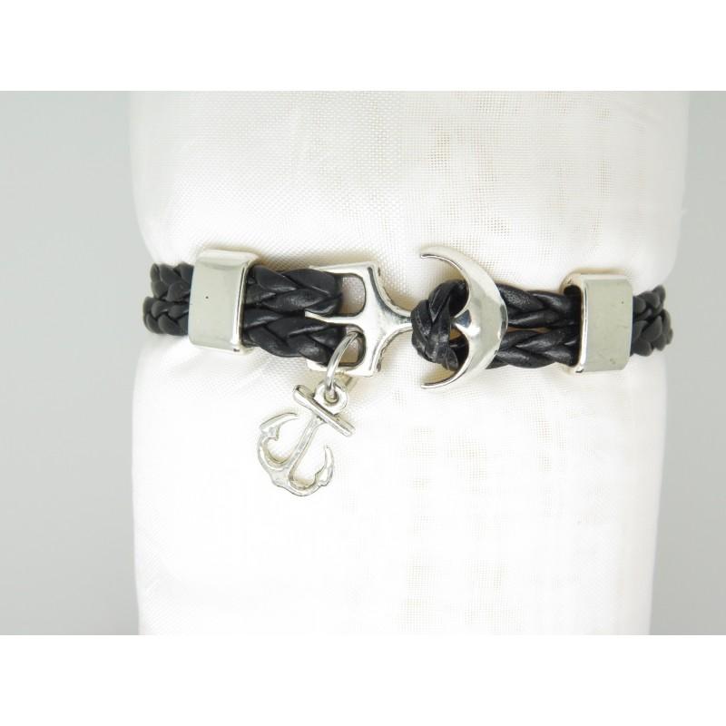 bracelet homme double cuir tresse noir avec ancre marine cadeau papa ami pour soi m me. Black Bedroom Furniture Sets. Home Design Ideas