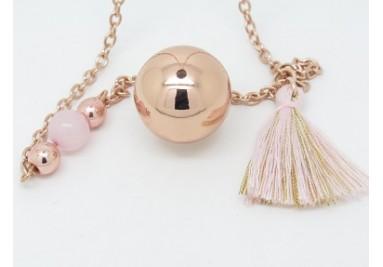 Bola de grossesse or rose et quartz F de Bm créations
